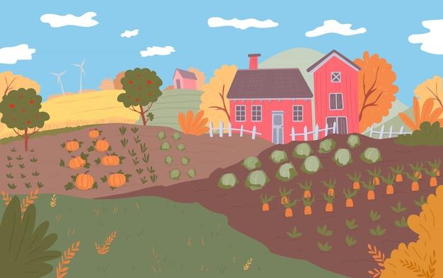 Jesienny krajobraz gospodarstwa.