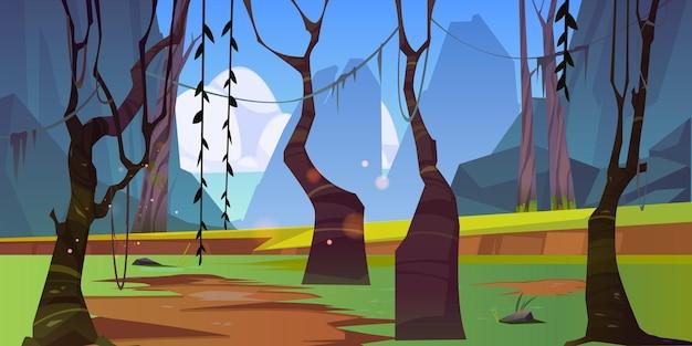 Jesienny krajobraz lasu z nagimi, nagimi drzewami