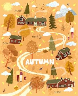 Jesienny krajobraz przyrody z domem w stylu skandynawskim