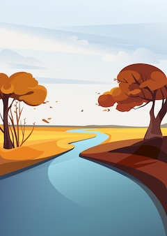 Jesienny krajobraz rzeki. naturalna sceneria w orientacji pionowej.
