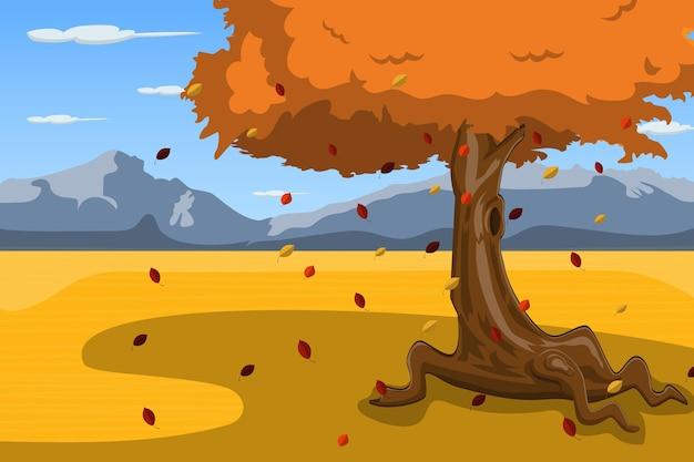 Jesienny krajobraz tło z drzewem