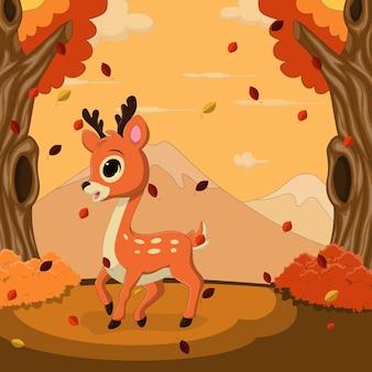 Jesienny krajobraz tło z jeleniem