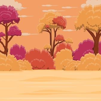 Jesienny krajobraz tło z kolorowymi drzewami