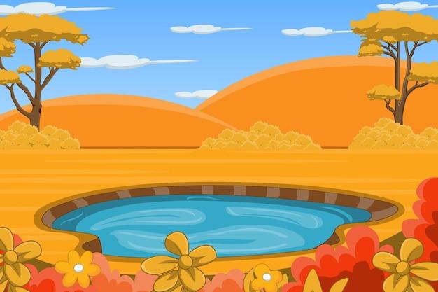 Jesienny krajobraz tło ze stawem