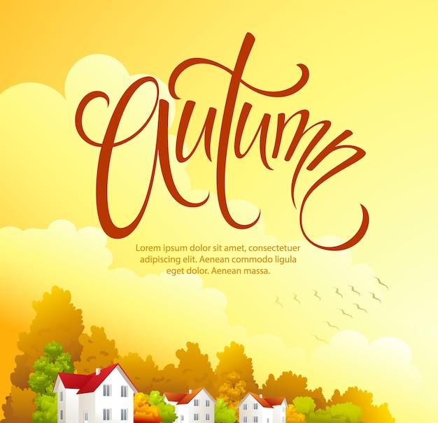 Jesienny krajobraz wiejski szablon