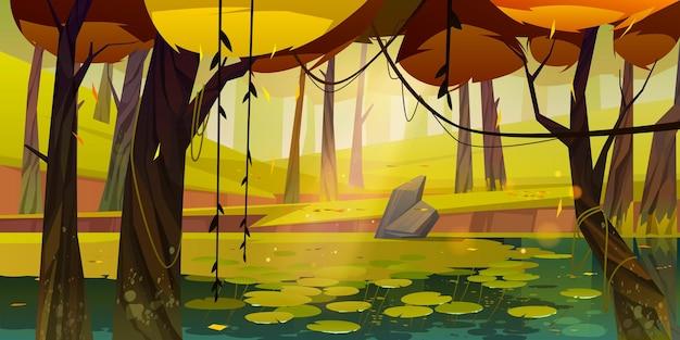 Jesienny krajobraz z bagnem w lesie.