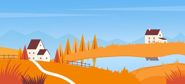 Jesienny krajobraz z drogą do domu na farmie nad jeziorem wieś jesień scena jesień sezon