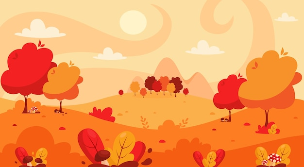 Jesienny krajobraz z drzewami, górami, polami, liśćmi. krajobraz wsi. jesienne tło.