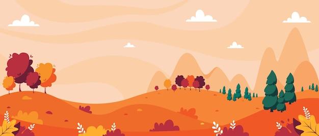 Jesienny krajobraz z drzewami, górami, polami, liśćmi. krajobraz wsi.