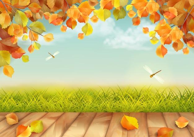 Jesienny krajobraz z trawą, ważkami, gałęziami drzew i drewnianą podłogą