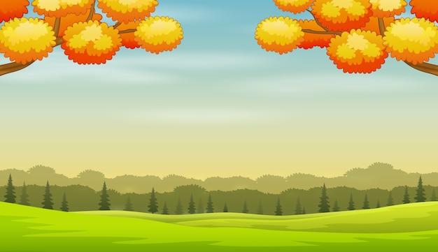 Jesienny krajobraz z zielonym tłem ziemi