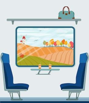 Jesienny krajobraz za oknem pociągu. jesienią podróż koleją. wektor