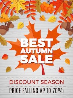 Jesienny kupon sprzedaży, pomarańczowe i żółte liście spadają banner jesień rabat natura