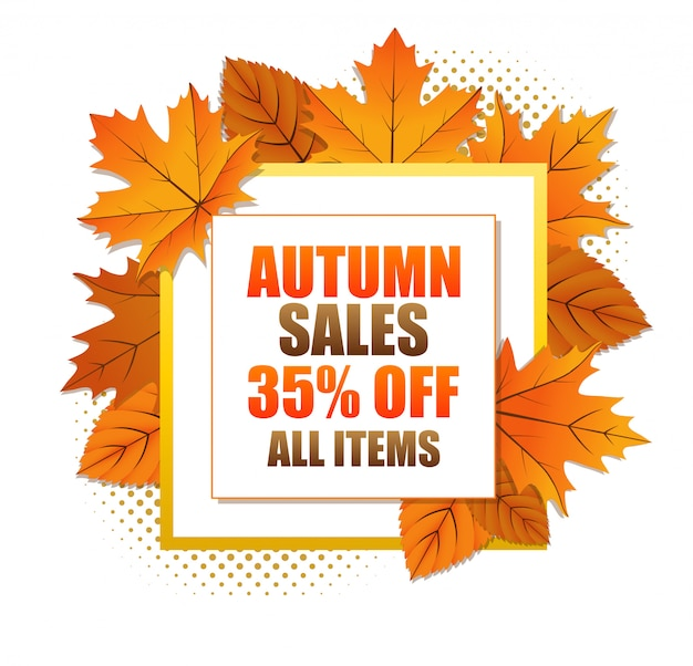 Jesienny kwadrat banner sprzedaży