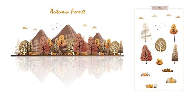 Jesienny las lub park w modnym tle w stylu przypominającym akwarele