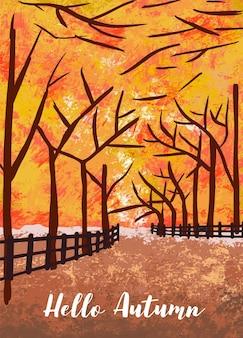 Jesienny las tło z drzewa, liści, nieba, drogi