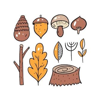 Jesienny las zestaw elementów grafik kolorowy styl ręcznie rysowane szkic doodle