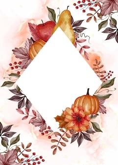 Jesienny liść, dynia, gruszka i jabłko na kwiecistą ramkę w tle