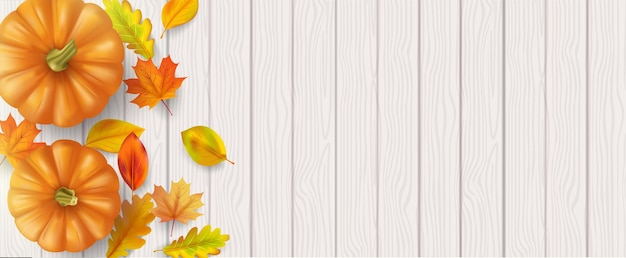 Jesienny liść i dynie na drewnianym tle. wektor