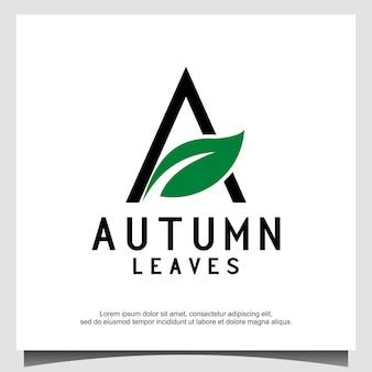 Jesienny liść początkowa litera a logo