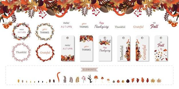 Jesienny liść tag i zestaw wieniec