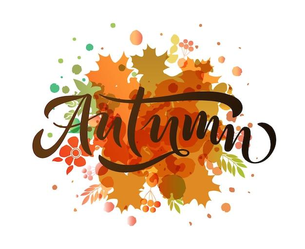 Jesienny napis typografia nowoczesna jesienna kaligrafia ilustracja wektorowa na teksturowanym tle
