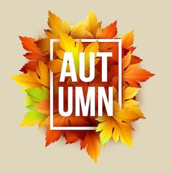 Jesienny napis z suchymi liśćmi