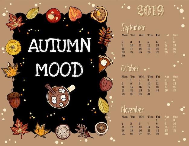 Jesienny nastrój ładny, przytulny hygge kalendarz na jesień 2019 r