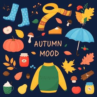 Jesienny nastrój. zestaw z jesiennymi elementami w stylu cartoon