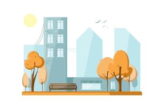 Jesienny park publiczny w mieście. Jesienne drzewa.