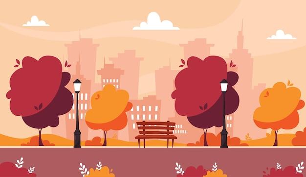 Jesienny park z ławką między latarniami z drzewami i krzewami na tle miasta. ilustracja w stylu płaski.