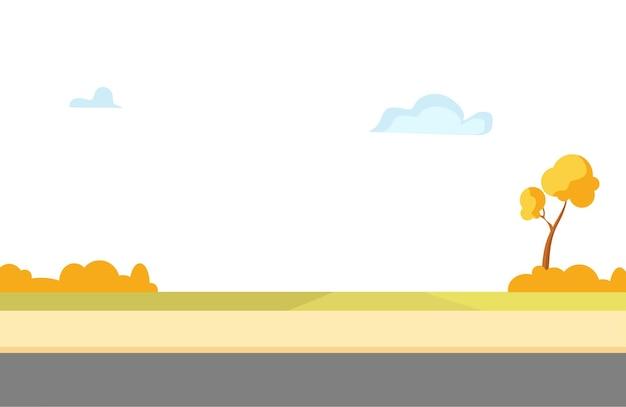 Jesienny park ze ścieżką dla pieszych i jezdnią. ilustracja kreskówka wektor