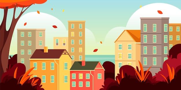 Jesienny pejzaż miejski lub jesienna sceneria w sztandarze miasta