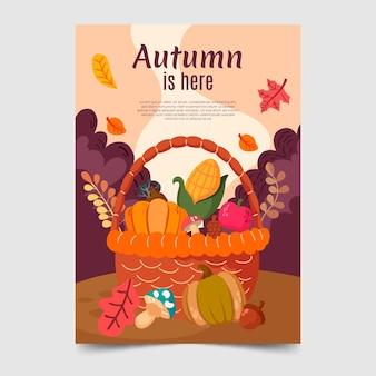 Jesienny pionowy szablon ulotki