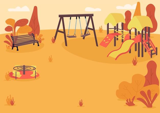 Jesienny plac zabaw w płaskim kolorze. park publiczny jesienią. pusty teren rekreacyjny dla dzieci. jesienna strefa parkowa z wyposażeniem do zabaw dla dzieci kreskówka 2d krajobraz z drzewami na tle