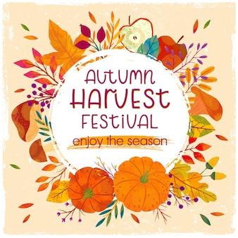 Jesienny plakat dożynek z dyniami, grzybami, gałęziami drzew, jabłkami, roślinami, liśćmi, jagodami i kwiatowymi elementami. projekt żniwa. ilustracja wektorowa modnej jesieni.