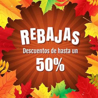 Jesienny plakat rebajas z liśćmi z siatki gradientu, ilustracja