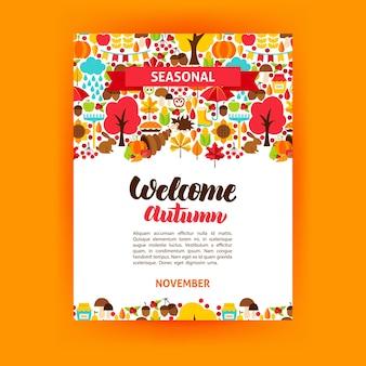 Jesienny plakat sezonowy. ilustracja wektorowa tożsamości marki. koncepcja upadku.