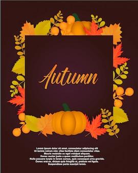 Jesienny plakat z liści i kwiatowymi elementami.