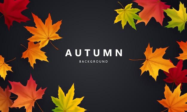 Jesienny projekt plakatu tła na sprzedaż ozdobiony kolorowymi liśćmi