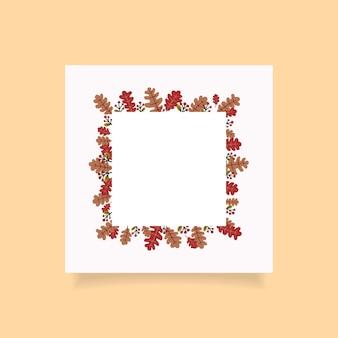 Jesienny projekt ramy kwadratowej z wolnym miejscem na tekst. ilustracja wektorowa
