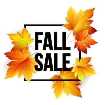 Jesienny projekt transparentu sezonowej sprzedaży. fal liść. ilustracja wektorowa eps10