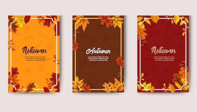 Jesienny projekt z liśćmi w tle banner karty i projekt plakatu