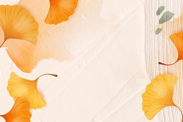 Jesienny sezon tło wektor z liśćmi miłorzębu