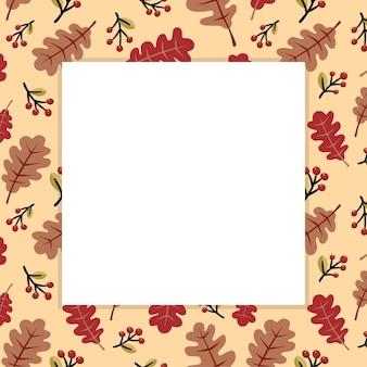 Jesienny sezon tło z kwadratową ramą na wolnej przestrzeni. ilustracja wektorowa