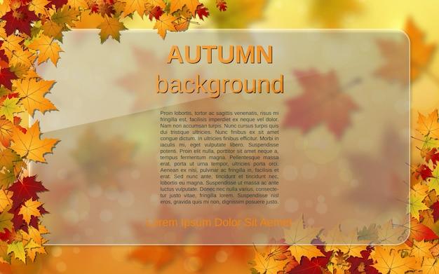 Jesienny styl tło wektor z kolorowymi liśćmi i szklanym billboardem