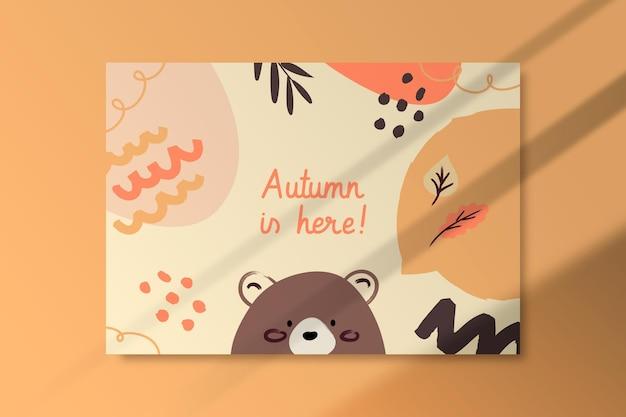 Jesienny szablon karty z niedźwiedziem