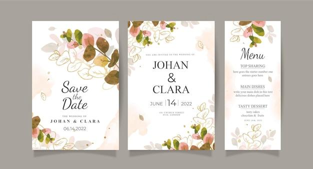 Jesienny szablon karty zaproszenie na ślub z liśćmi akwareli i złotem