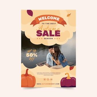 Jesienny szablon plakatu pionowej sprzedaży ze zdjęciem