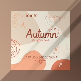 Jesienny szablon postu na facebooku z abstrakcyjnymi kształtami